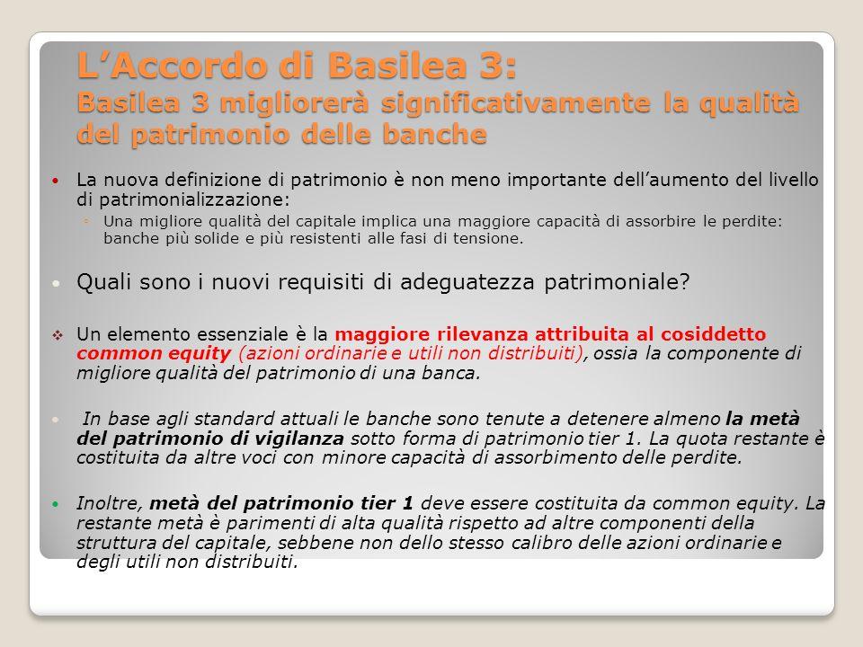 L'Accordo di Basilea 3: Basilea 3 migliorerà significativamente la qualità del patrimonio delle banche