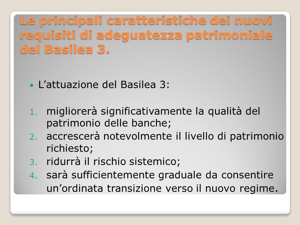 Le principali caratteristiche dei nuovi requisiti di adeguatezza patrimoniale del Basilea 3.