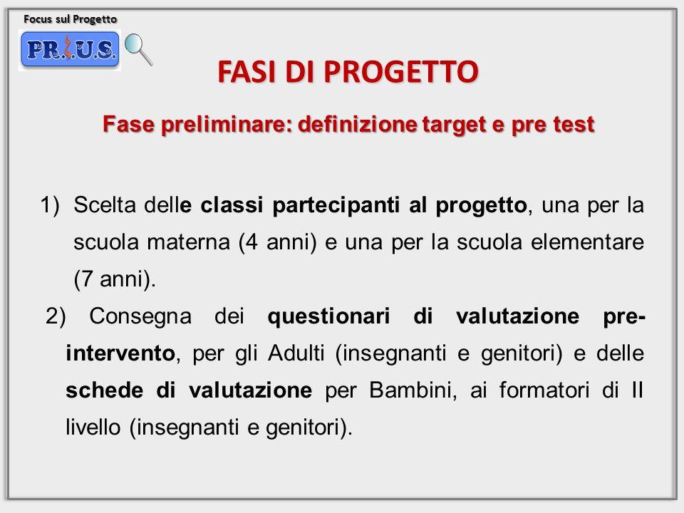 Fase preliminare: definizione target e pre test