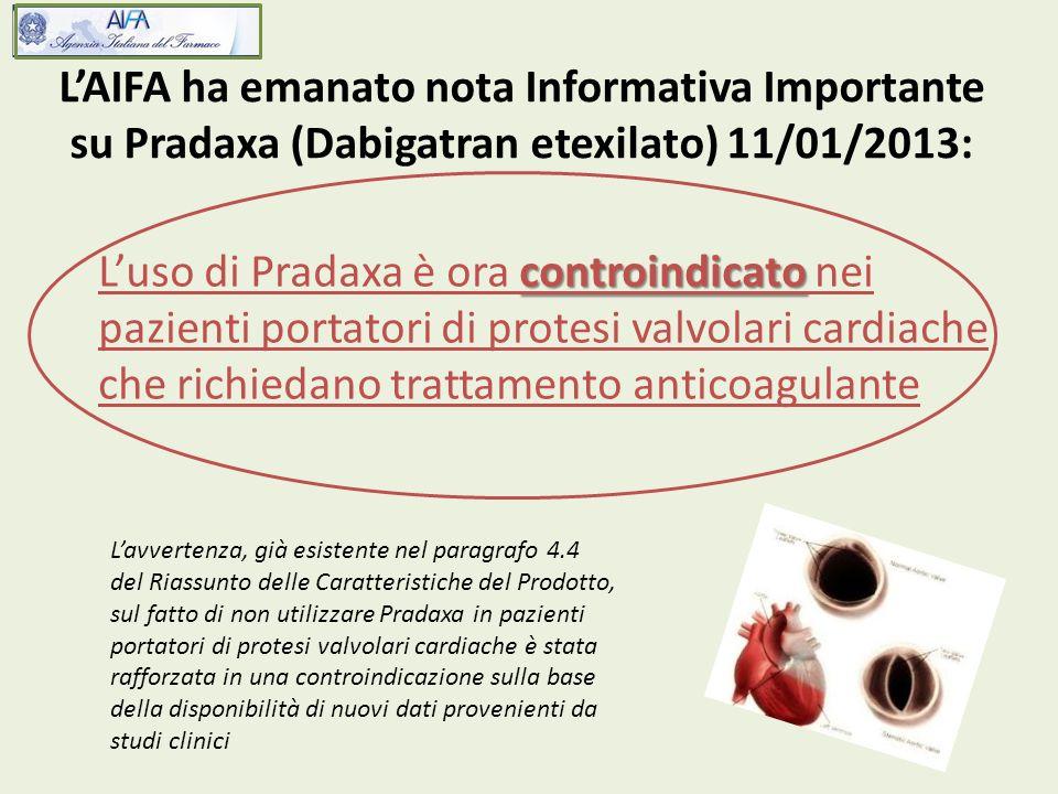 L'AIFA ha emanato nota Informativa Importante su Pradaxa (Dabigatran etexilato) 11/01/2013: