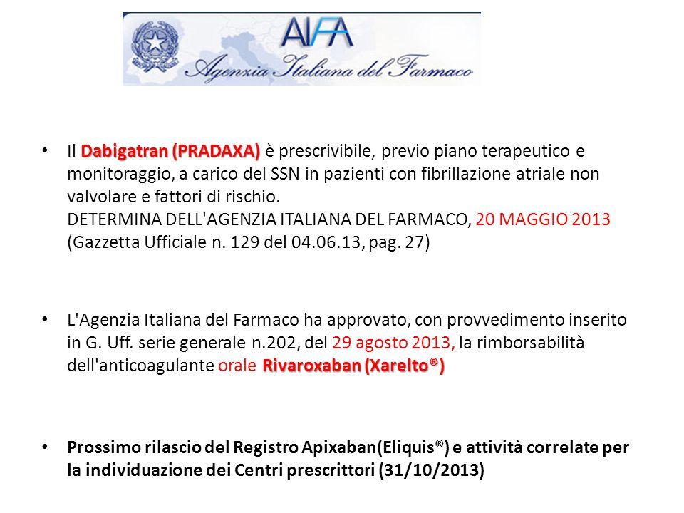 Il Dabigatran (PRADAXA) è prescrivibile, previo piano terapeutico e monitoraggio, a carico del SSN in pazienti con fibrillazione atriale non valvolare e fattori di rischio. DETERMINA DELL AGENZIA ITALIANA DEL FARMACO, 20 MAGGIO 2013 (Gazzetta Ufficiale n. 129 del 04.06.13, pag. 27)