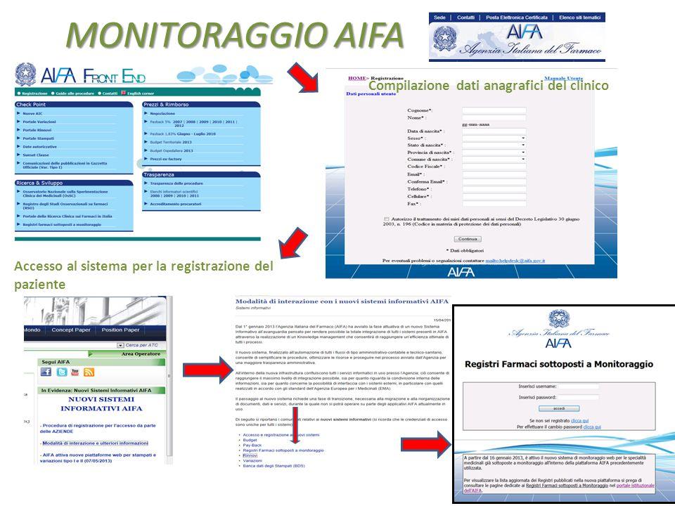 MONITORAGGIO AIFA Compilazione dati anagrafici del clinico