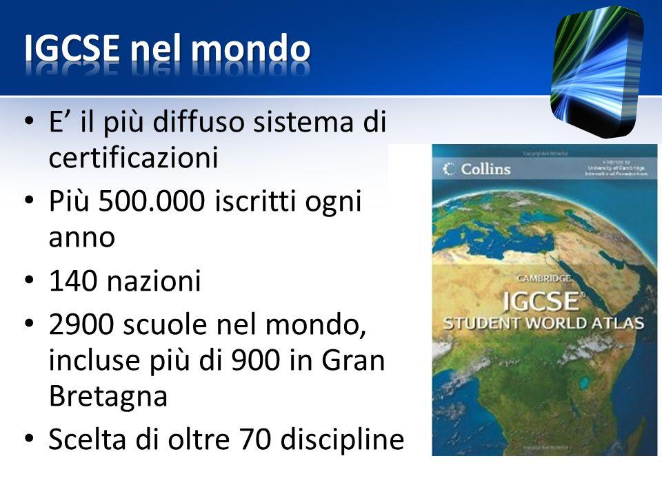 IGCSE nel mondo E' il più diffuso sistema di certificazioni