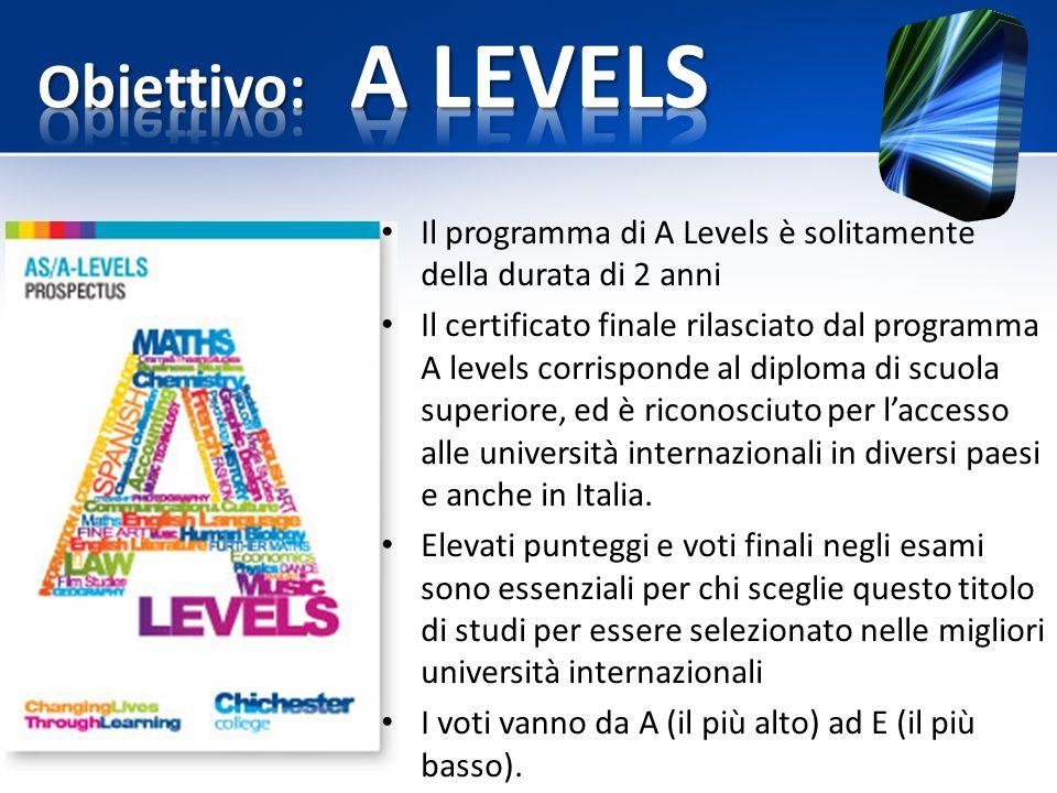 Obiettivo: A LEVELS Il programma di A Levels è solitamente della durata di 2 anni.