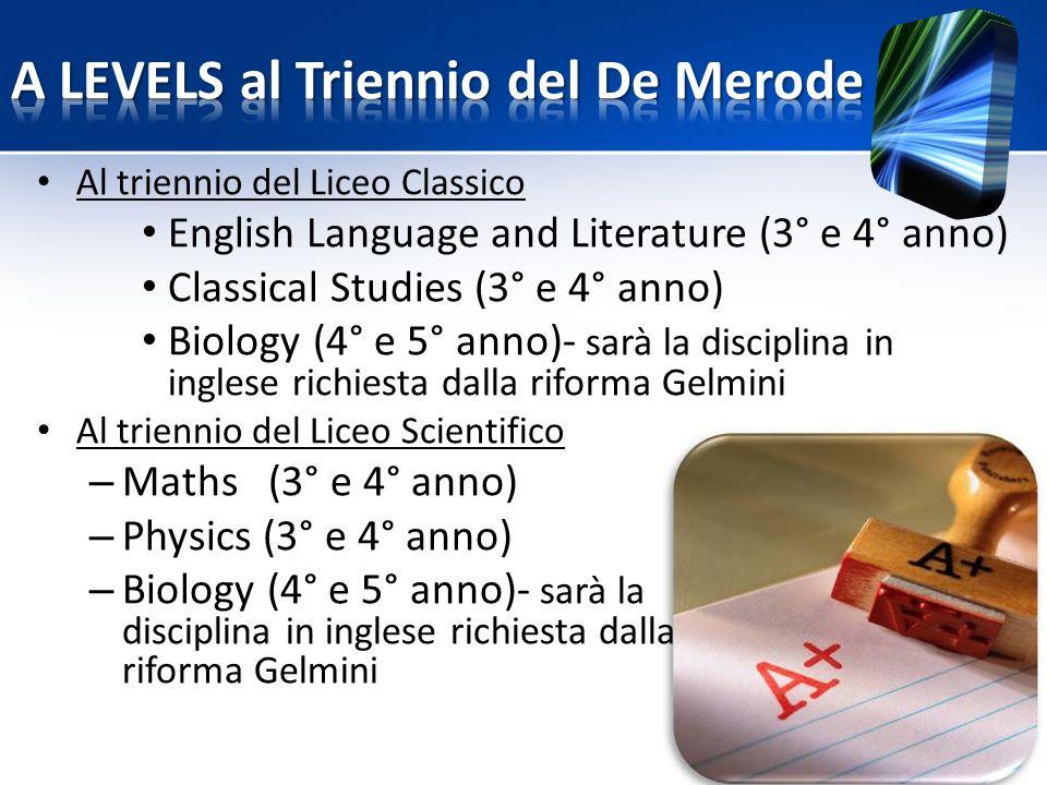 A LEVELS al Triennio del De Merode