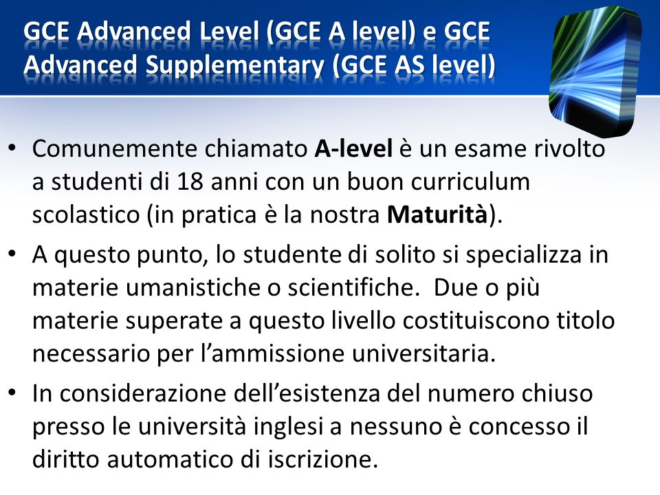 GCE Advanced Level (GCE A level) e GCE Advanced Supplementary (GCE AS level)