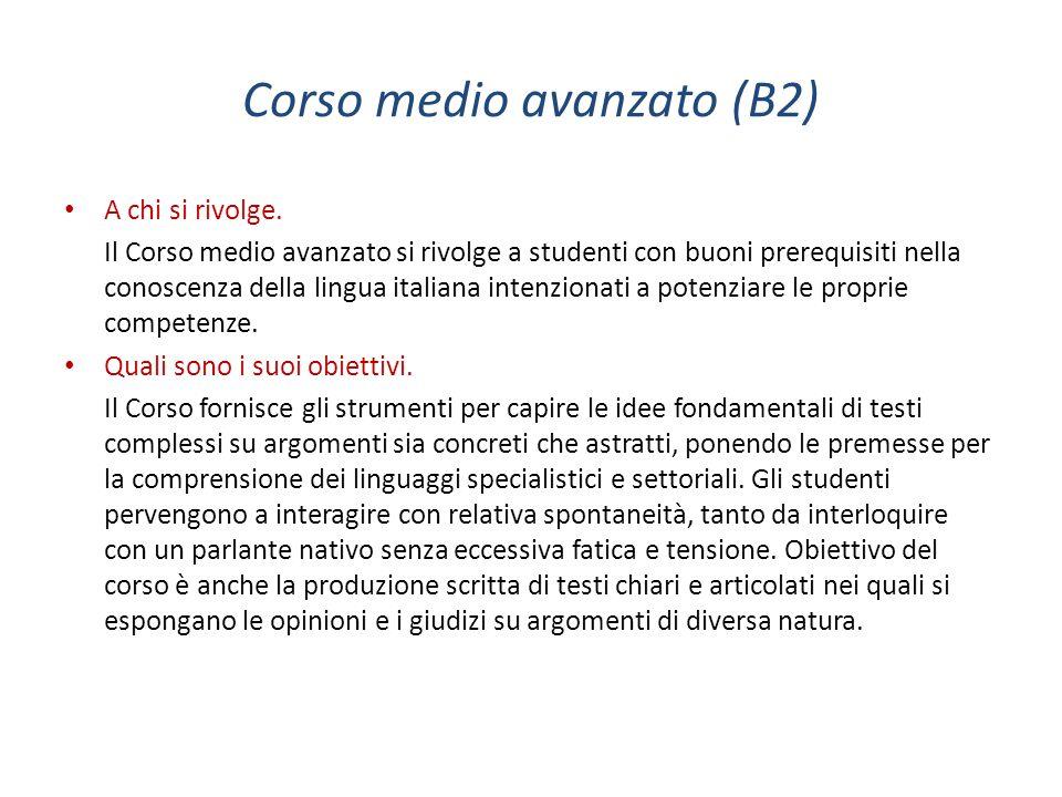 Corso medio avanzato (B2)