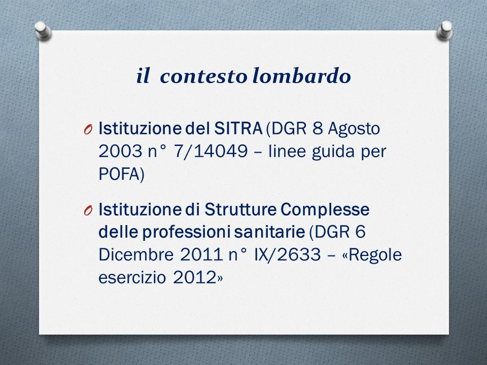 il contesto lombardo Istituzione del SITRA (DGR 8 Agosto 2003 n° 7/14049 – linee guida per POFA)