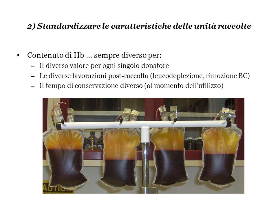 2) Standardizzare le caratteristiche delle unità raccolte