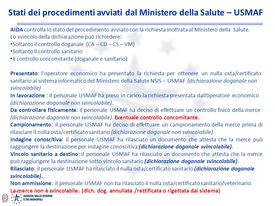 Stati dei procedimenti avviati dal Ministero della Salute – USMAF