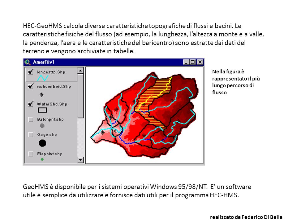HEC-GeoHMS calcola diverse caratteristiche topografiche di flussi e bacini. Le caratteristiche fisiche del flusso (ad esempio, la lunghezza, l'altezza a monte e a valle, la pendenza, l'aera e le caratteristiche del baricentro) sono estratte dai dati del terreno e vengono archiviate in tabelle.