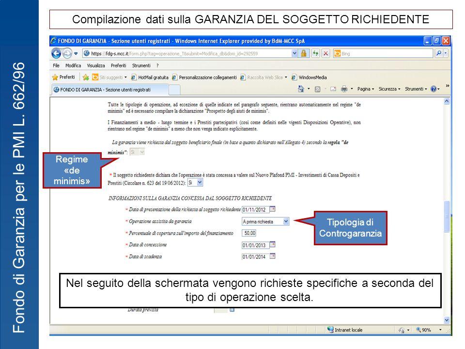 Compilazione dati sulla GARANZIA DEL SOGGETTO RICHIEDENTE