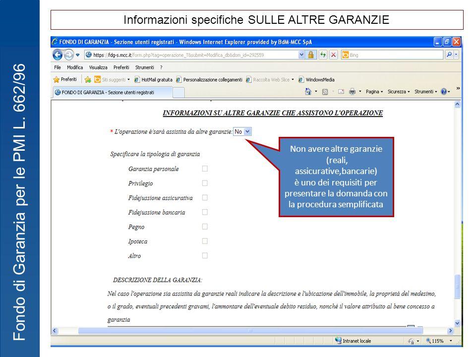 Informazioni specifiche SULLE ALTRE GARANZIE