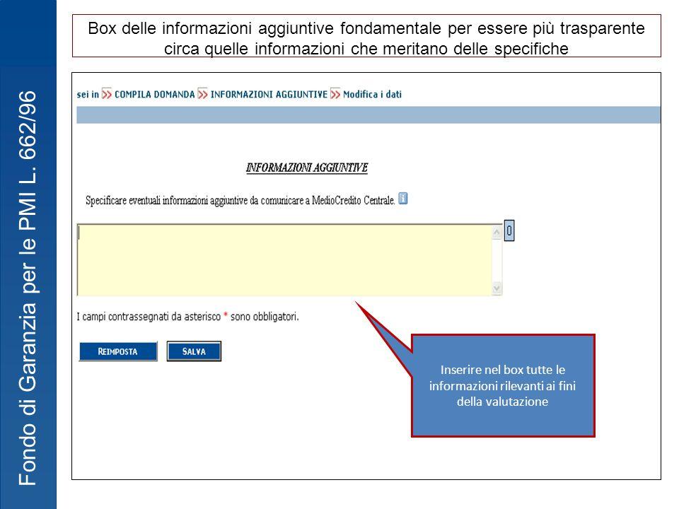 Box delle informazioni aggiuntive fondamentale per essere più trasparente circa quelle informazioni che meritano delle specifiche