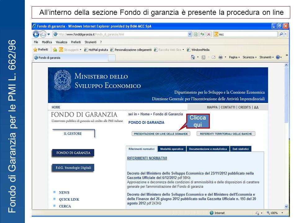 All'interno della sezione Fondo di garanzia è presente la procedura on line