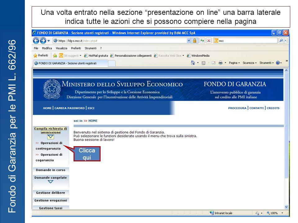 Una volta entrato nella sezione presentazione on line una barra laterale indica tutte le azioni che si possono compiere nella pagina