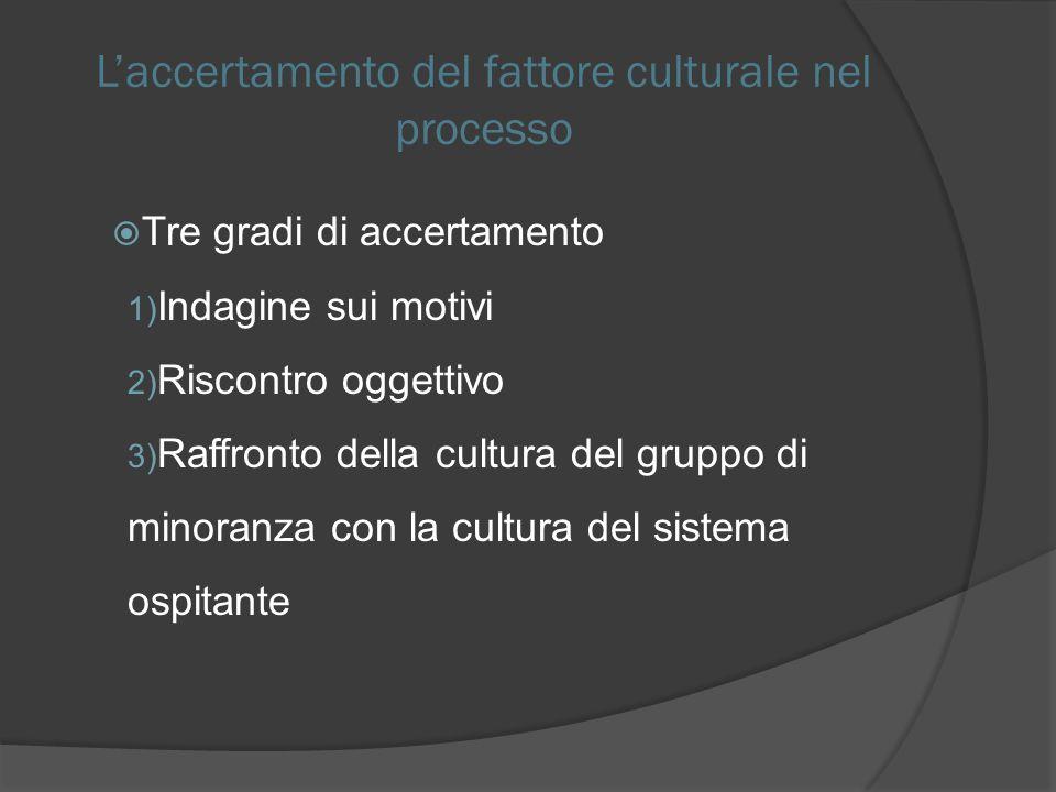 L'accertamento del fattore culturale nel processo