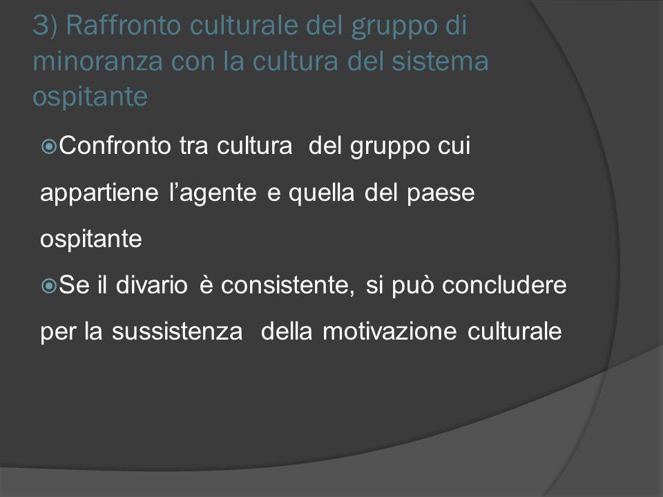 3) Raffronto culturale del gruppo di minoranza con la cultura del sistema ospitante