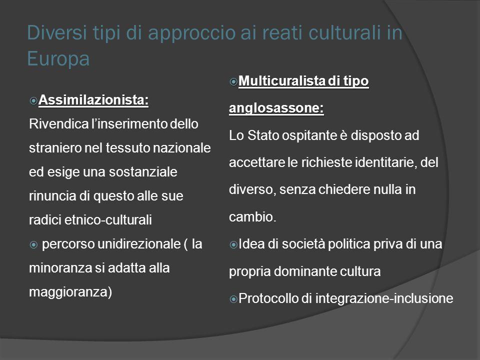 Diversi tipi di approccio ai reati culturali in Europa