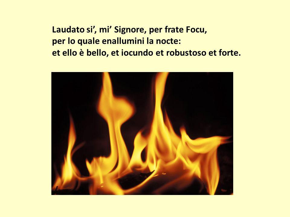 Laudato si', mi' Signore, per frate Focu, per lo quale enallumini la nocte: et ello è bello, et iocundo et robustoso et forte.