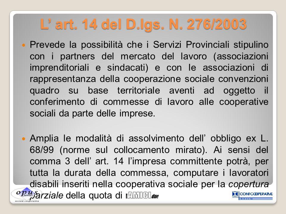 L' art. 14 del D.lgs. N. 276/2003