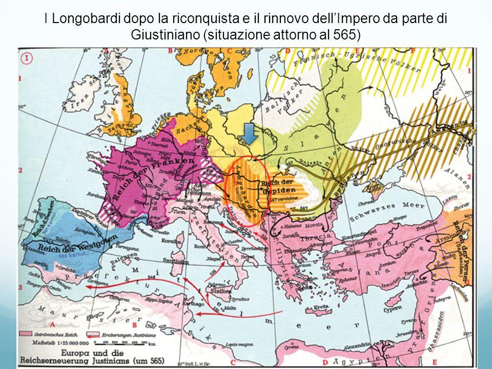 I Longobardi dopo la riconquista e il rinnovo dell'Impero da parte di Giustiniano (situazione attorno al 565)
