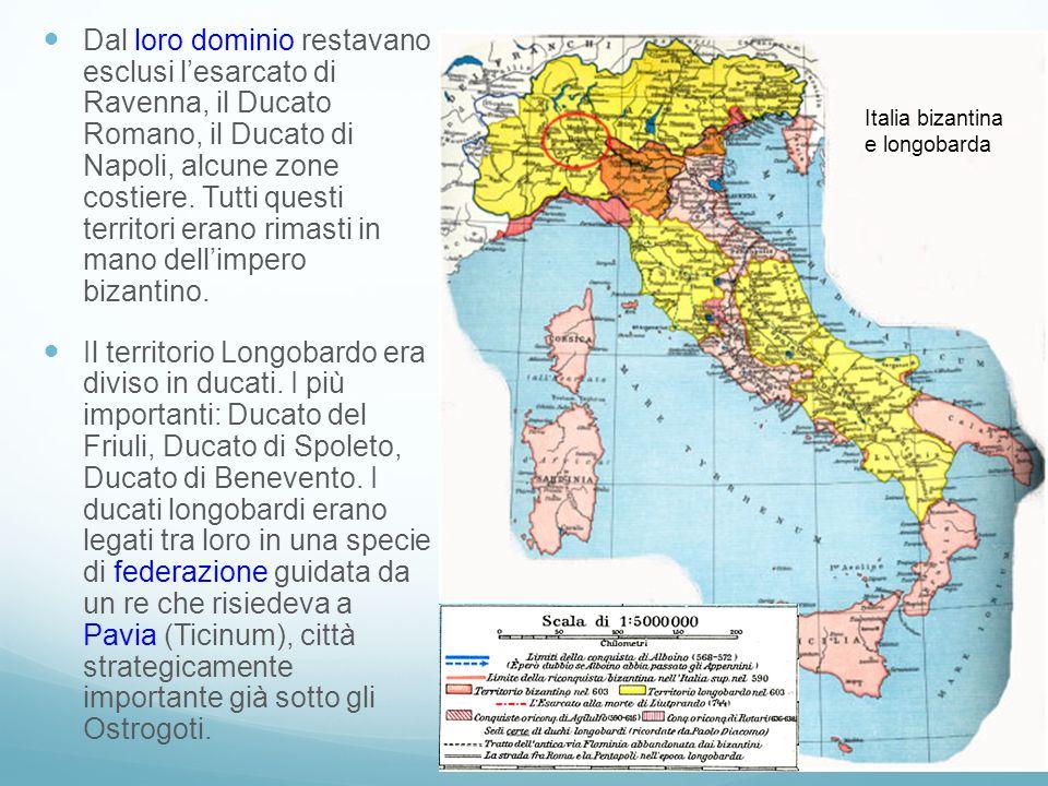 Dal loro dominio restavano esclusi l'esarcato di Ravenna, il Ducato Romano, il Ducato di Napoli, alcune zone costiere. Tutti questi territori erano rimasti in mano dell'impero bizantino.