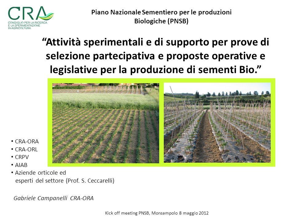 Piano Nazionale Sementiero per le produzioni Biologiche (PNSB)
