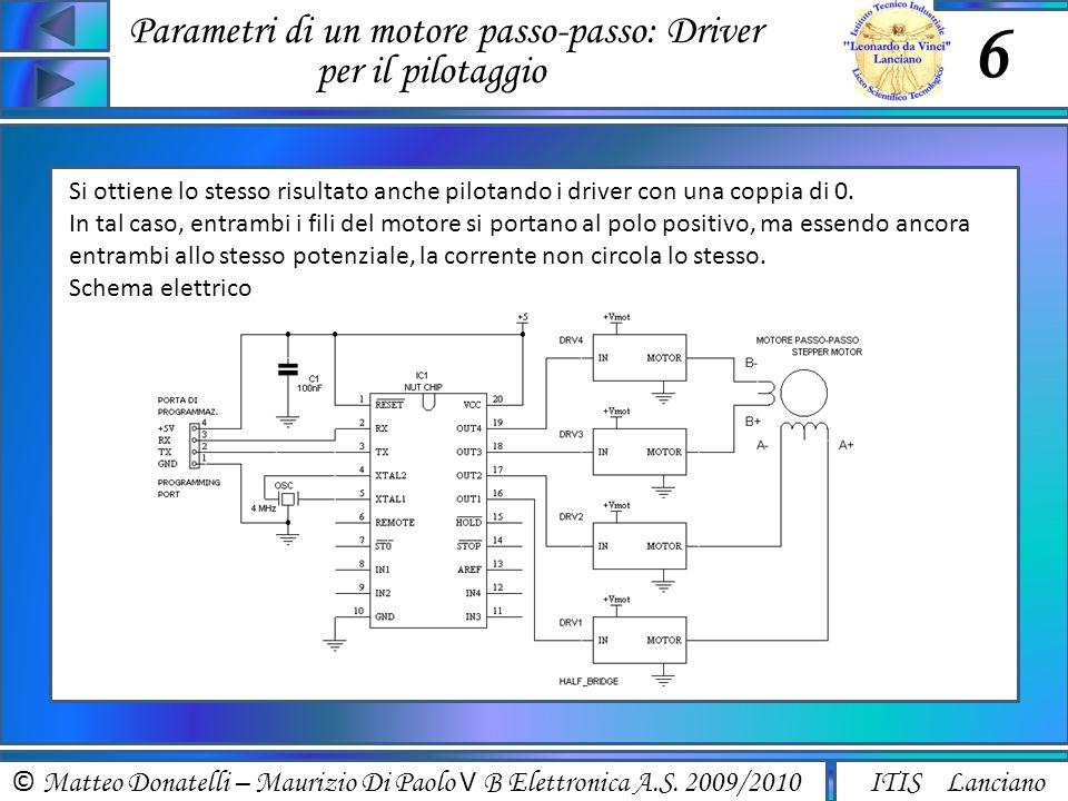Parametri di un motore passo-passo: Driver per il pilotaggio