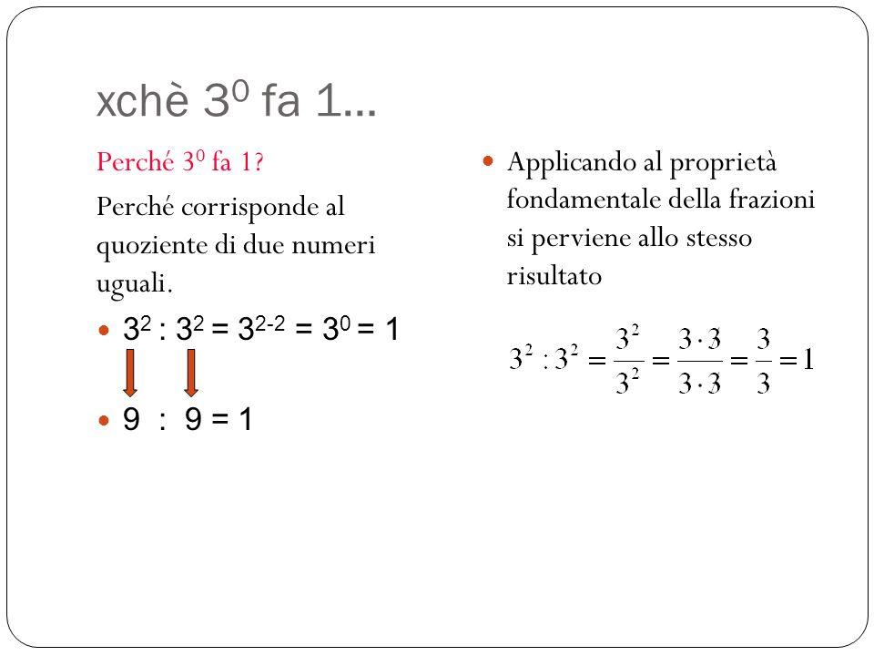 xchè 30 fa 1… Perché 30 fa 1 Perché corrisponde al quoziente di due numeri uguali. 32 : 32 = 32-2 = 30 = 1.