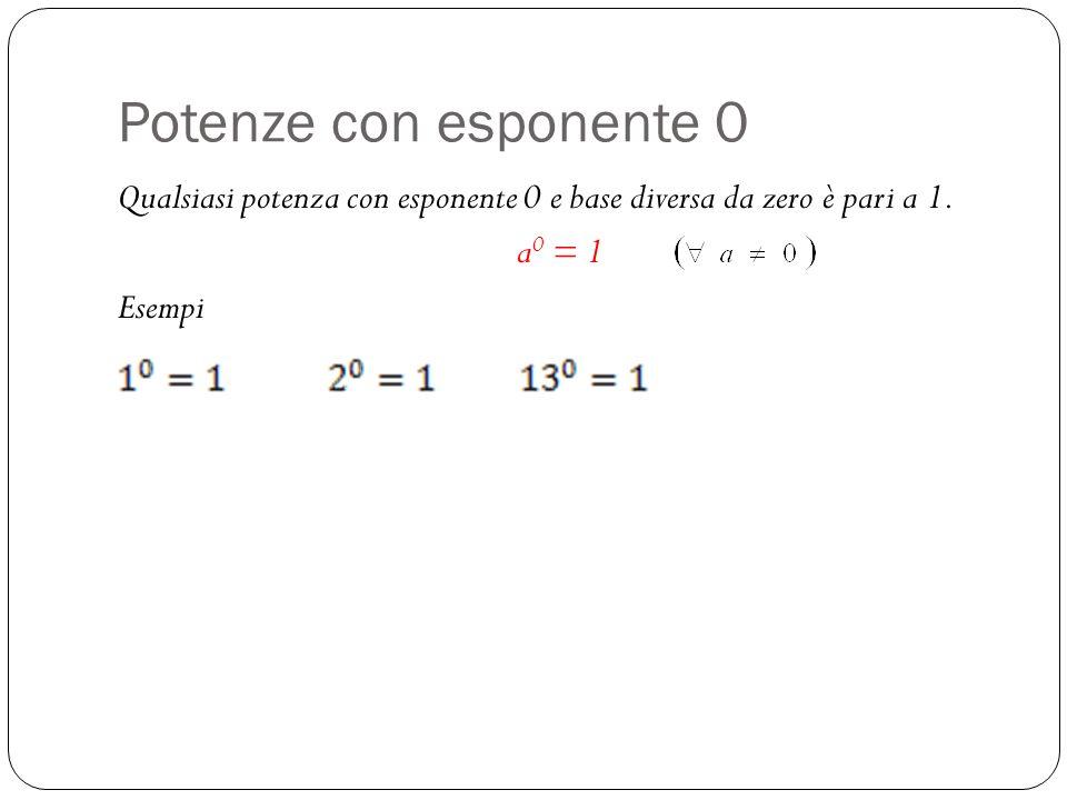 Potenze con esponente 0 Qualsiasi potenza con esponente 0 e base diversa da zero è pari a 1. a0 = 1.