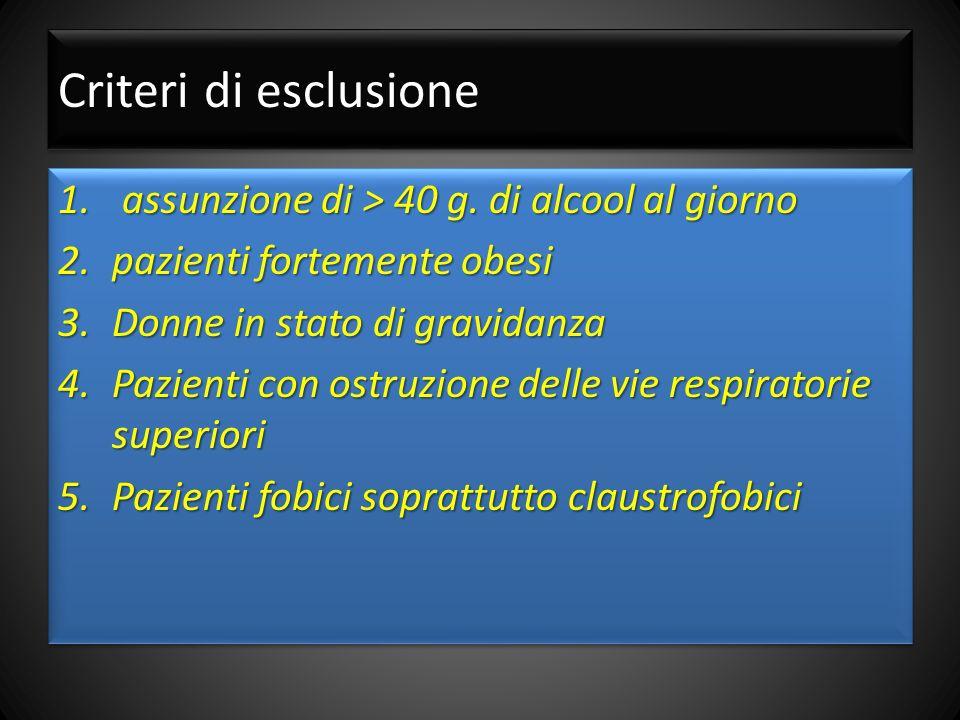 Criteri di esclusione assunzione di > 40 g. di alcool al giorno