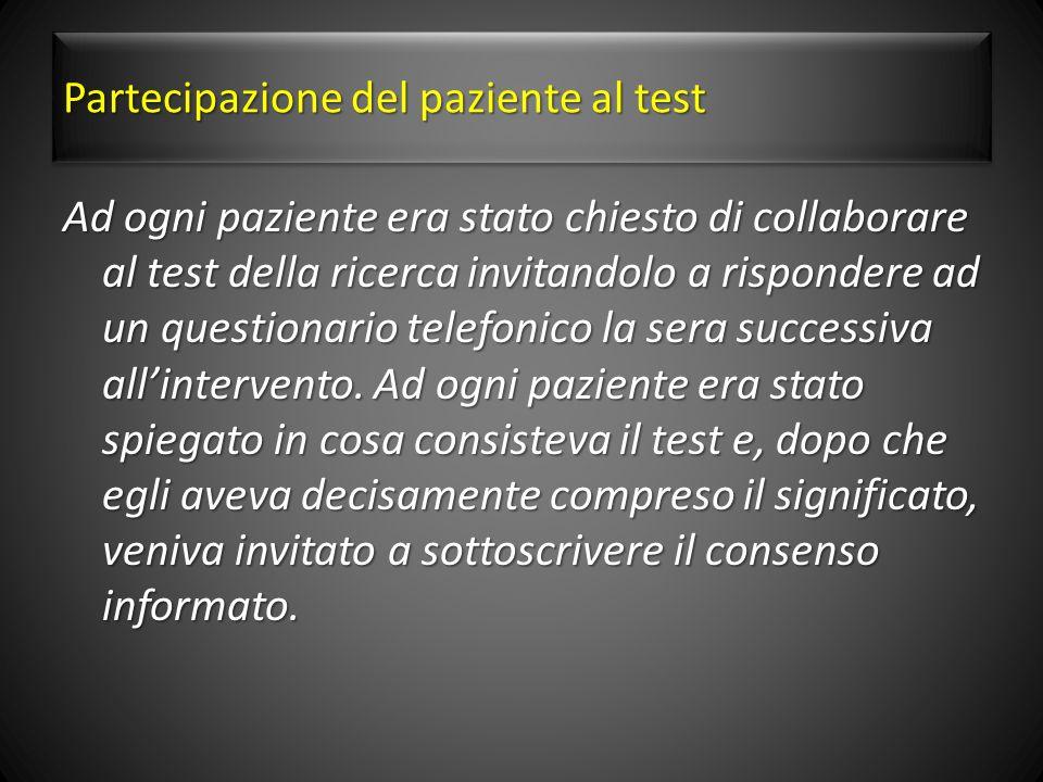 Partecipazione del paziente al test
