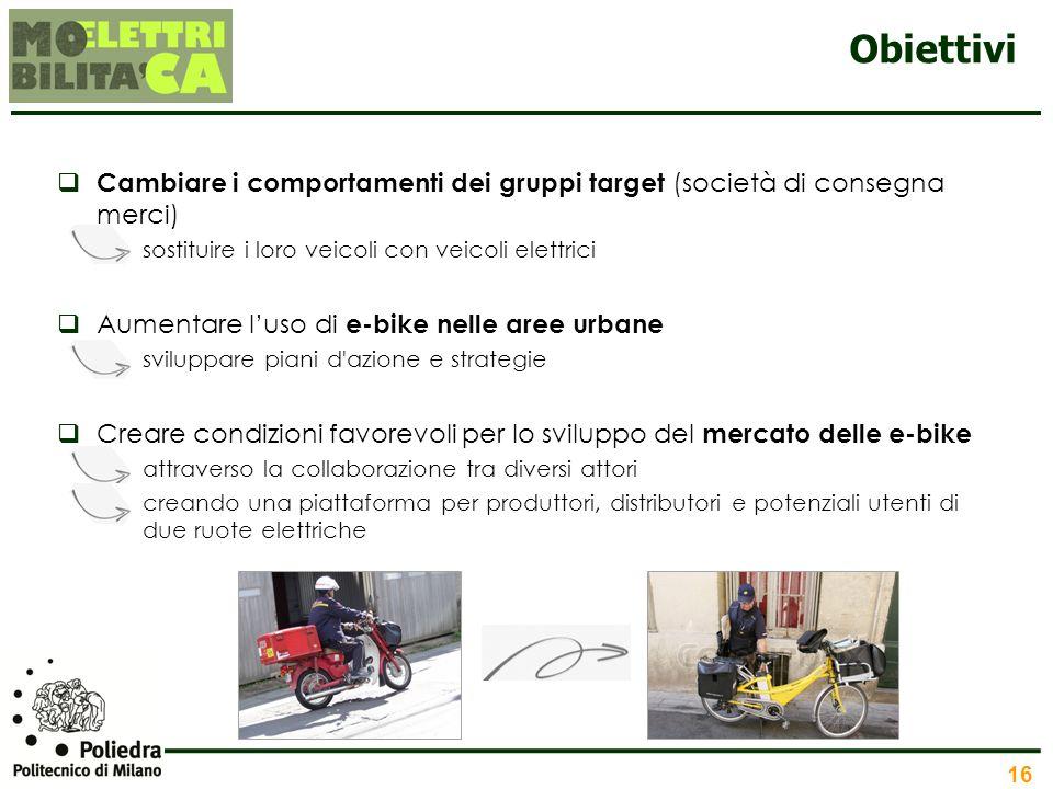 Obiettivi Cambiare i comportamenti dei gruppi target (società di consegna merci) sostituire i loro veicoli con veicoli elettrici.