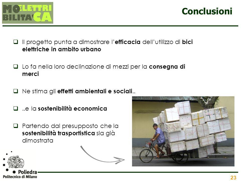 Conclusioni Il progetto punta a dimostrare l'efficacia dell'utilizzo di bici elettriche in ambito urbano.