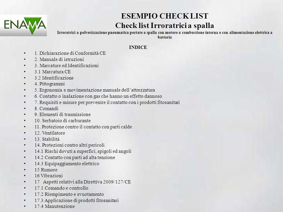 ESEMPIO CHECK LIST Check list Irroratrici a spalla Irroratrici a polverizzazione pneumatica portate a spalla con motore a combustione interna o con alimentazione elettrica a batteria