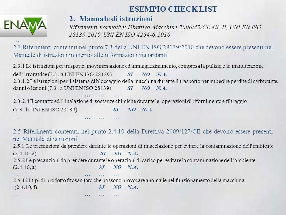 ESEMPIO CHECK LIST 2. Manuale di istruzioni