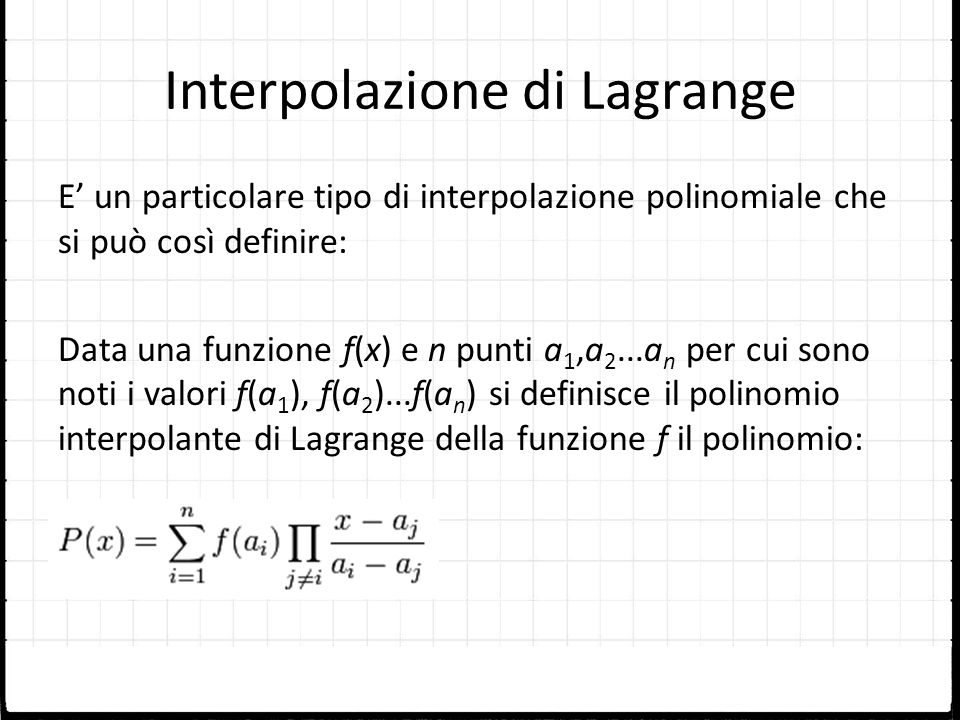 Interpolazione di Lagrange