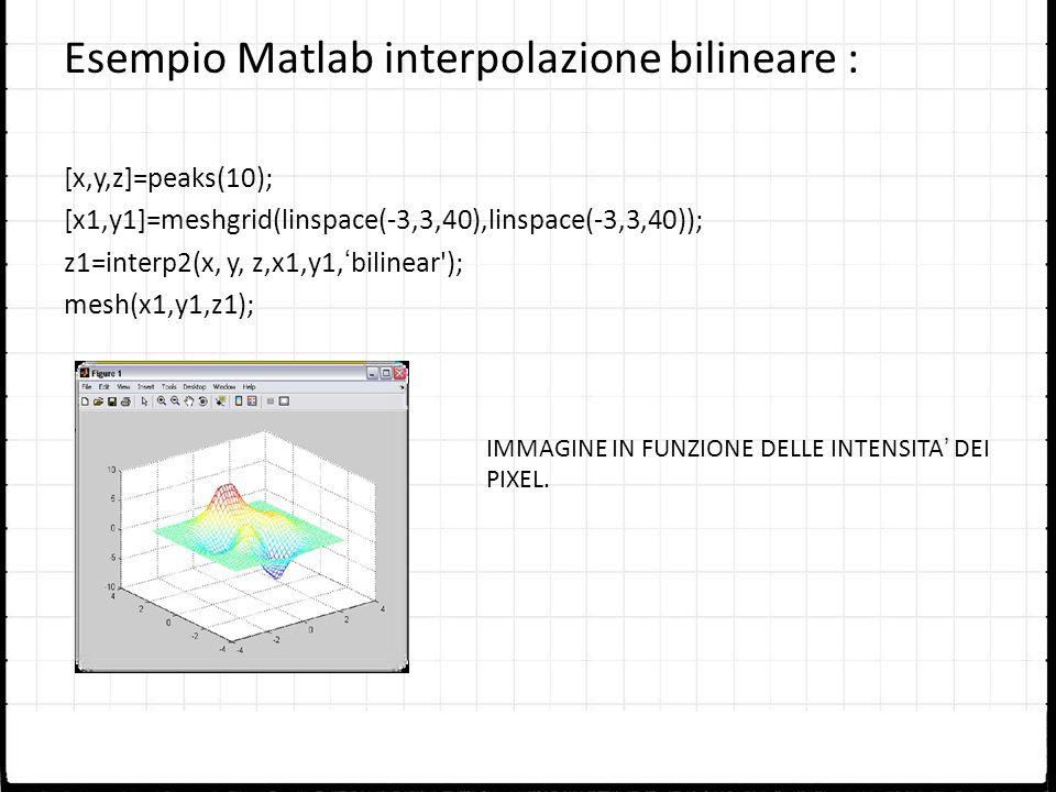 Esempio Matlab interpolazione bilineare :