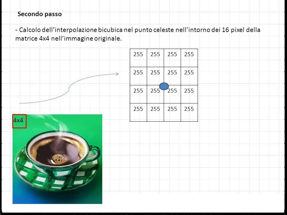 Secondo passo - Calcolo dell'interpolazione bicubica nel punto celeste nell'intorno dei 16 pixel della matrice 4x4 nell'immagine originale.