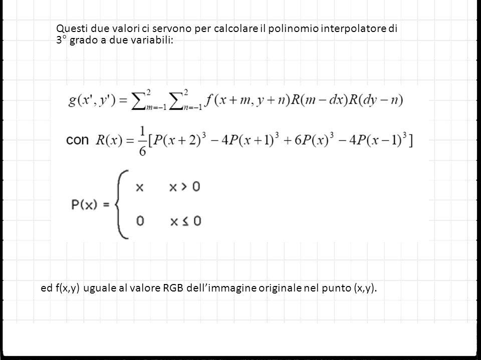 Questi due valori ci servono per calcolare il polinomio interpolatore di 3° grado a due variabili: