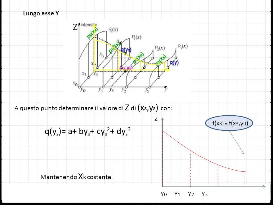 q(ys)= a+ bys+ cys2+ dys3 Lungo asse Y
