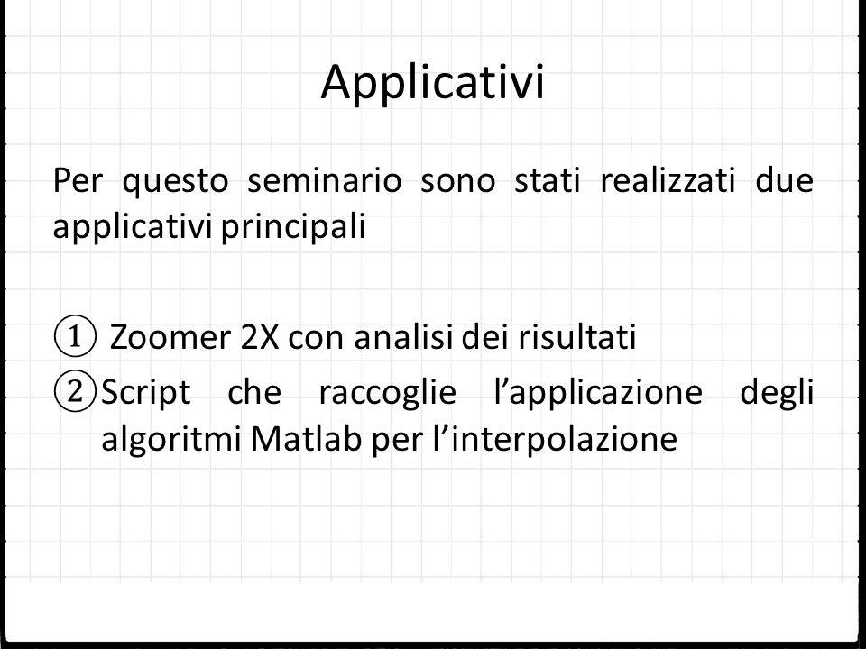Applicativi Per questo seminario sono stati realizzati due applicativi principali. Zoomer 2X con analisi dei risultati.