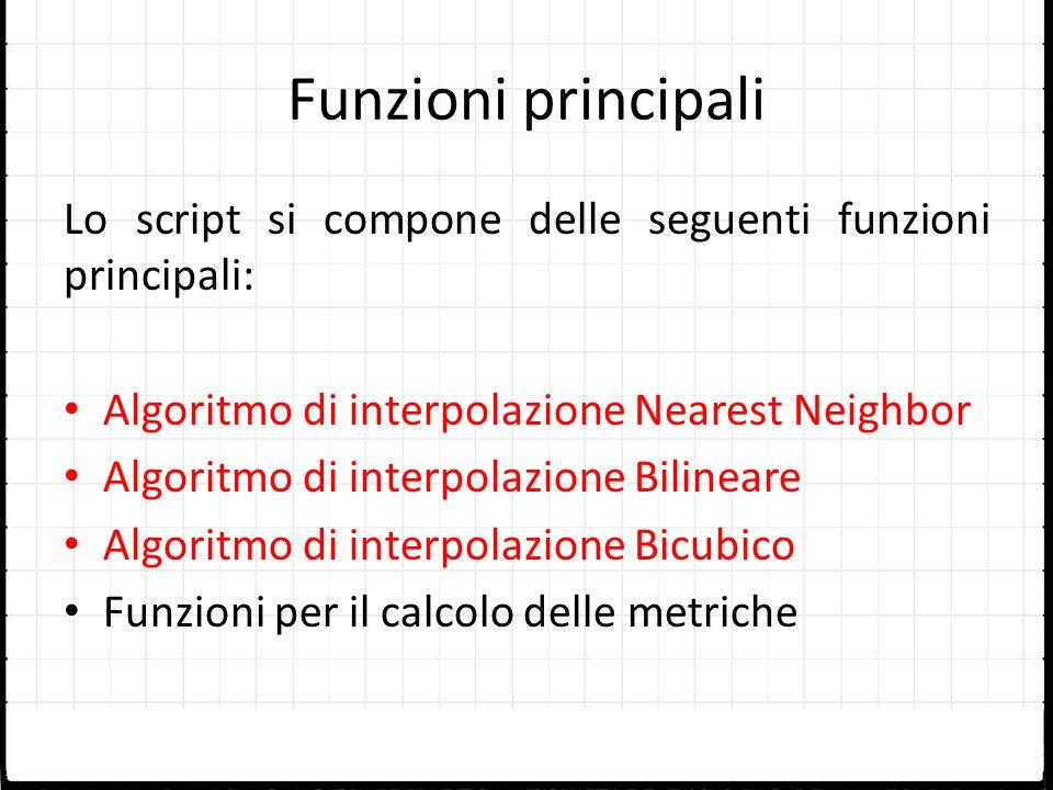 Funzioni principali Lo script si compone delle seguenti funzioni principali: Algoritmo di interpolazione Nearest Neighbor.