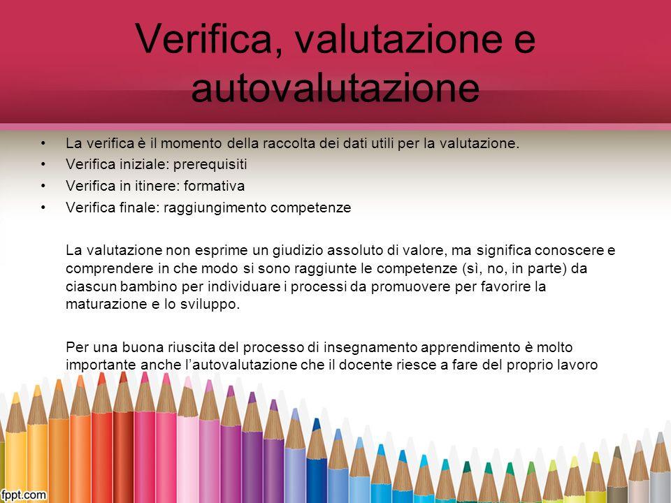 Verifica, valutazione e autovalutazione