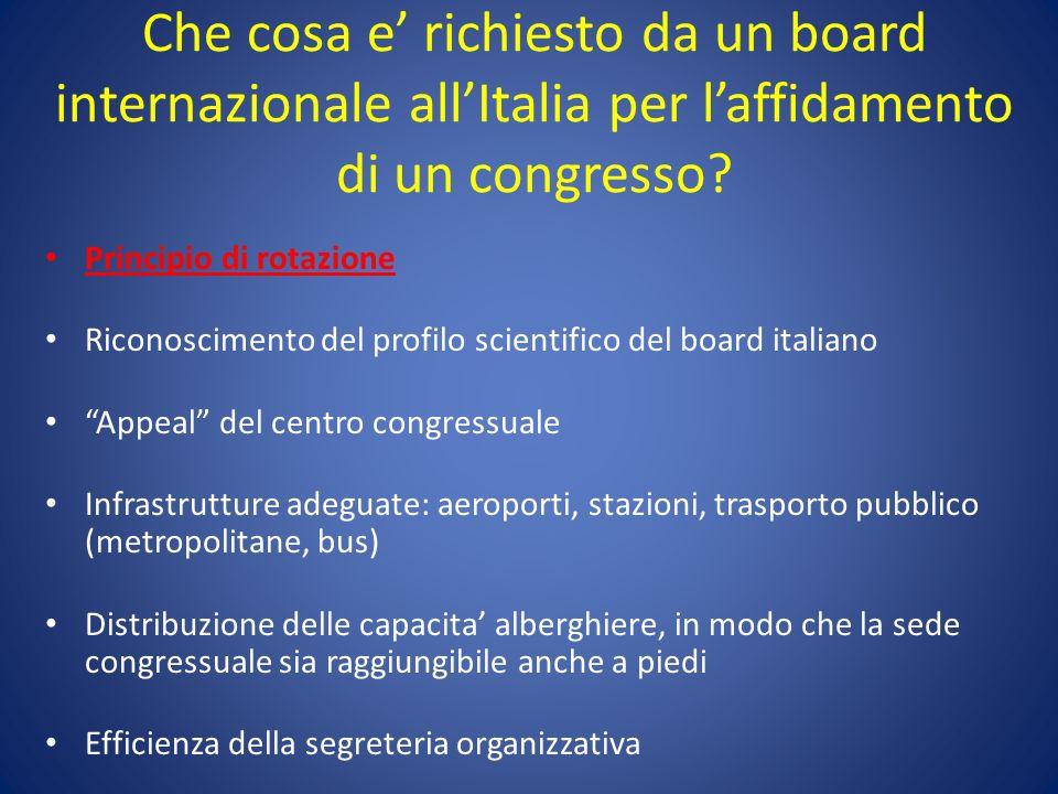 Che cosa e' richiesto da un board internazionale all'Italia per l'affidamento di un congresso
