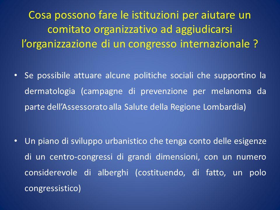 Cosa possono fare le istituzioni per aiutare un comitato organizzativo ad aggiudicarsi l'organizzazione di un congresso internazionale