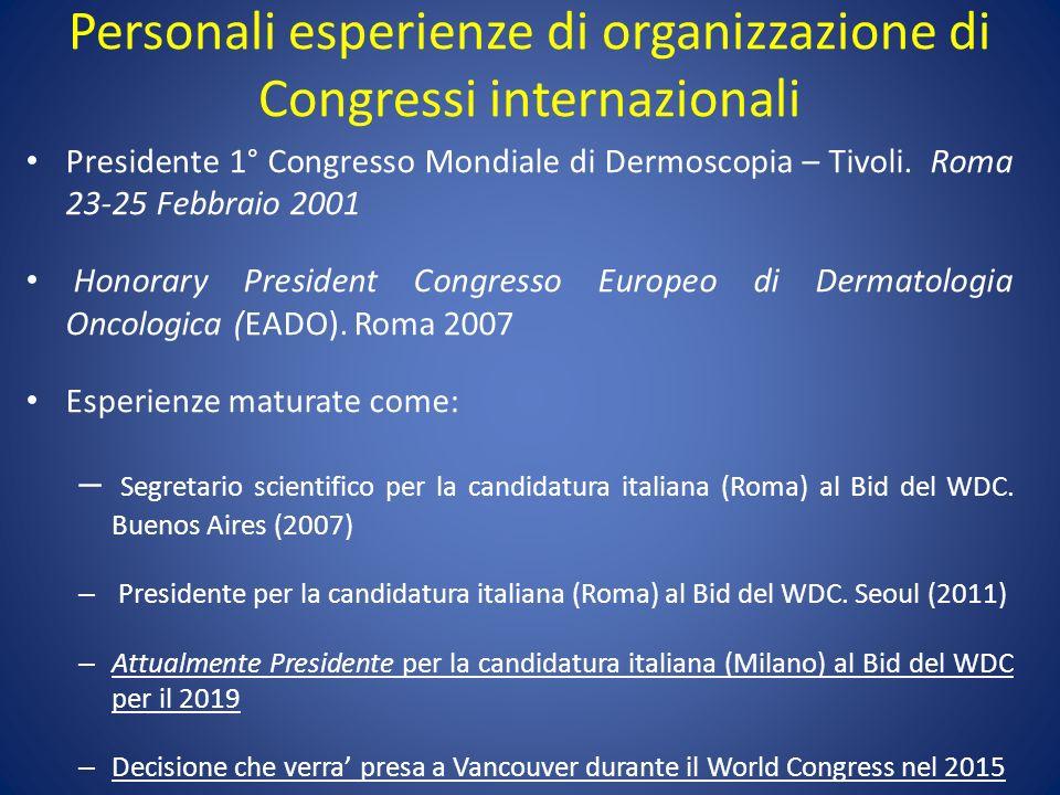 Personali esperienze di organizzazione di Congressi internazionali