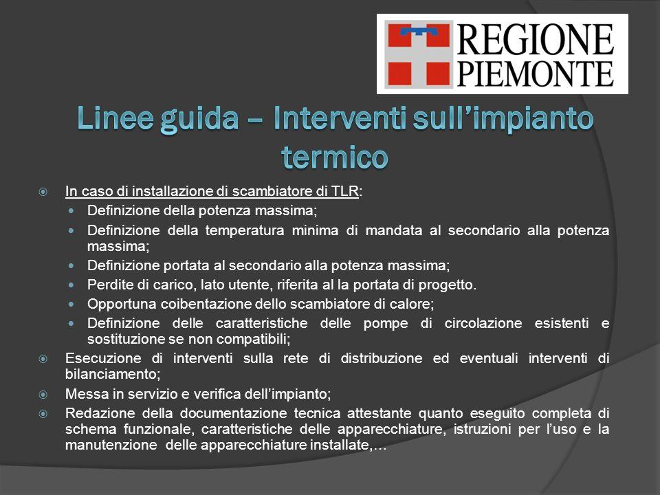 Linee guida – Interventi sull'impianto termico