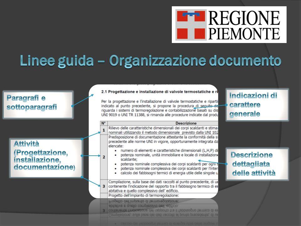Linee guida – Organizzazione documento